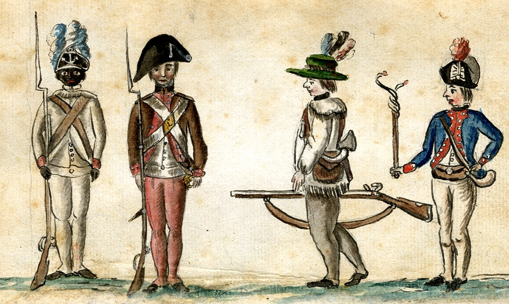 This 1780 drawing of American soldiers from the Yorktown campaign shows (far left) a black infantryman from the Rhode Island Regiment. Jean-Baptiste-Antoine DeVerger, watercolor, 1781