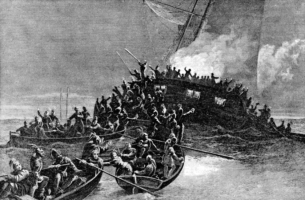 Destruction of the schooner Gaspee, from The Providence Plantations for 250 Years, by Welcome Arnold Greene (1886).