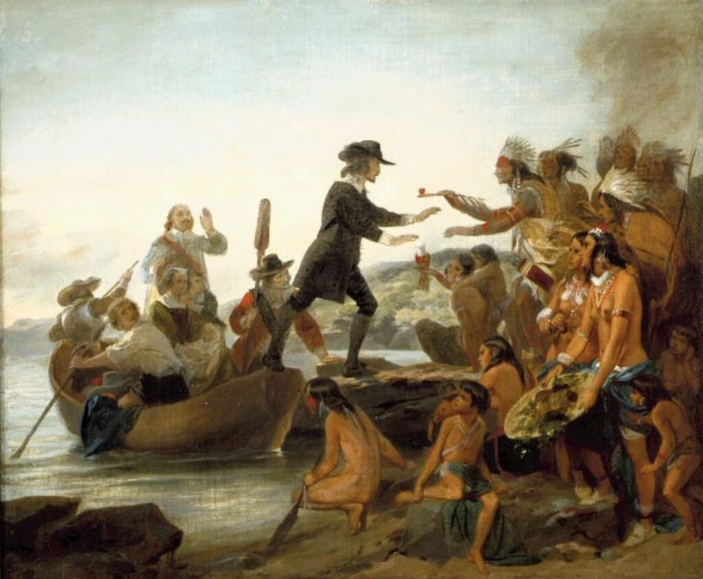 Alonzo Chappel (1857): The Landing of Roger Williams in 1636